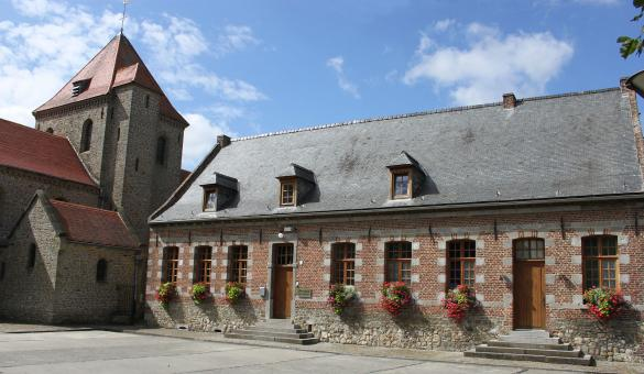 Aubechies: one of the Most Beautiful Villages in Wallonia - belltower - internal courtyard - blue sky