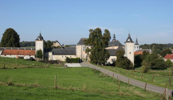 Les plus beaux villages de Wallonie - Falaën - clocher - cour intérieur - ciel bleu