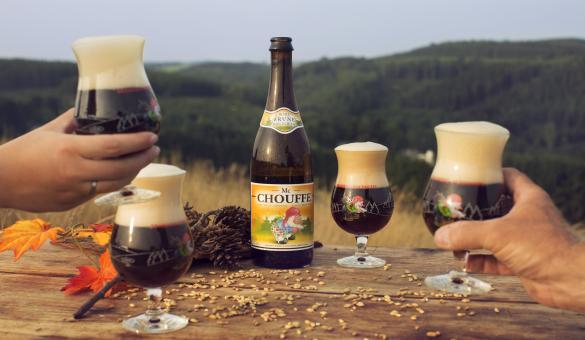 Bières de la brasserie d'Achouffe dans la Vallée des Fées à Houffalize, Luxembourg