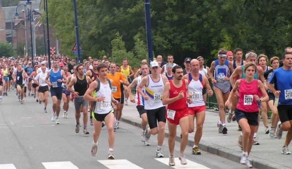 Descente de la Lesse - Course à pied passage du Pont Houyet