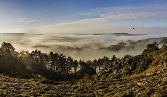 Geopark Famenne-Ardenne - patrimoine et géologie en Wallonie - Rochefort - Belvédère - brume
