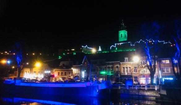 Ville de Thuin la nuit
