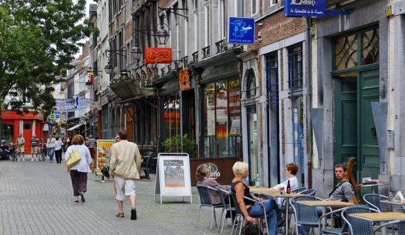 Wandel in het stadscentrum van Namen en de voetgangerszone