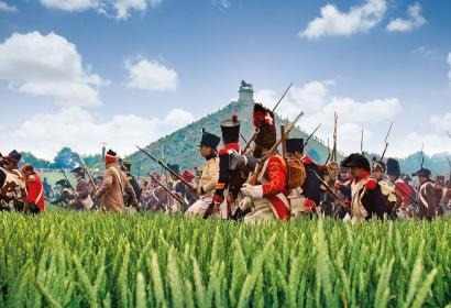 Troupes au pied de la Butte de Lion lors de la reconstitution de la bataille de Waterloo