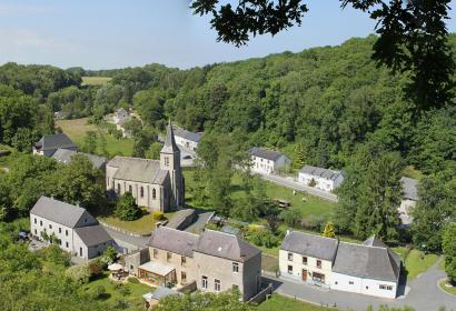 Lompret, one of the Most Beautiful Villages in Wallonia - belltower - nature - blue sky - landscape