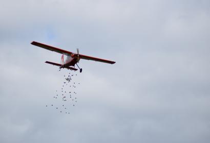 Largage d'oeufs de Pâques sur le terrain d'aéromodélisme à Honnay